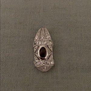 Jewelry - Sterling silver garnet and CZ stone pendant